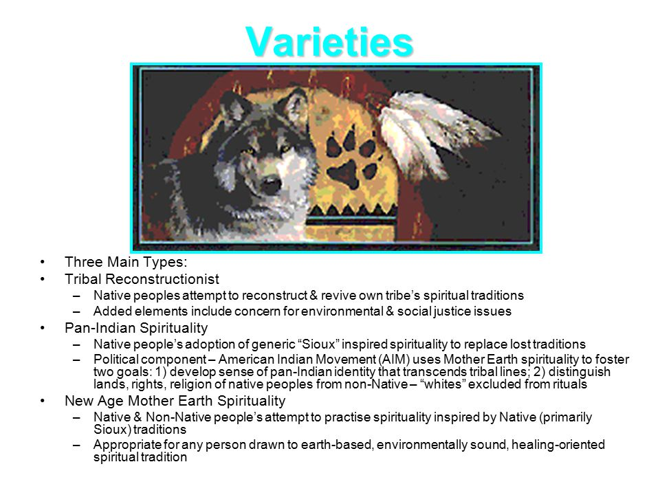 Varieties Three Main Types: Tribal Reconstructionist –Native peoples attempt to reconstruct & revive own tribe's spiritual traditions –Added elements include concern for environmental & social justice issues Pan-Indian Spirituality –Native people's adoption of generic Sioux inspired spirituality to replace lost traditions –Political component – American Indian Movement (AIM) uses Mother Earth spirituality to foster two goals: 1) develop sense of pan-Indian identity that transcends tribal lines; 2) distinguish lands, rights, religion of native peoples from non-Native – whites excluded from rituals New Age Mother Earth Spirituality –Native & Non-Native people's attempt to practise spirituality inspired by Native (primarily Sioux) traditions –Appropriate for any person drawn to earth-based, environmentally sound, healing-oriented spiritual tradition