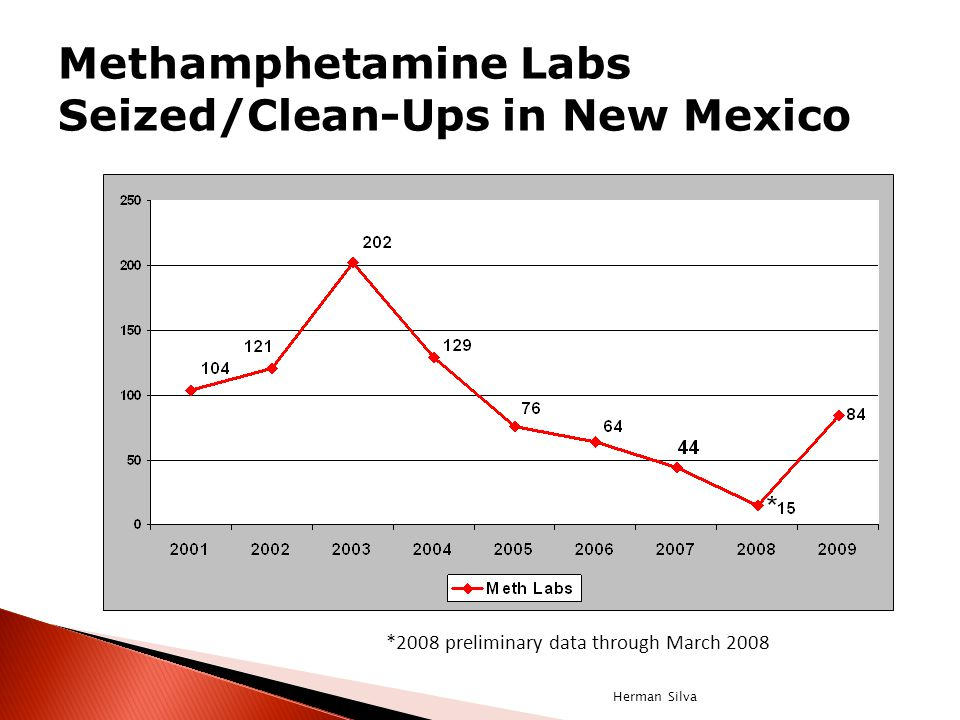 Methamphetamine Labs Seized/Clean-Ups in New Mexico *2008 preliminary data through March 2008 Herman Silva