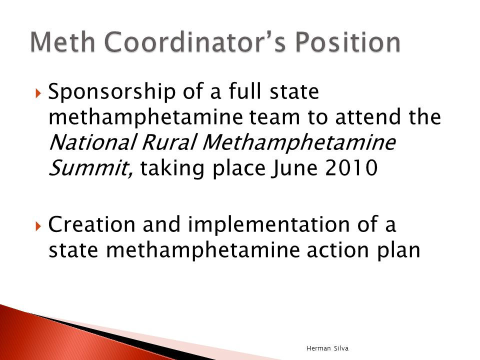  Sponsorship of a full state methamphetamine team to attend the National Rural Methamphetamine Summit, taking place June 2010  Creation and implemen