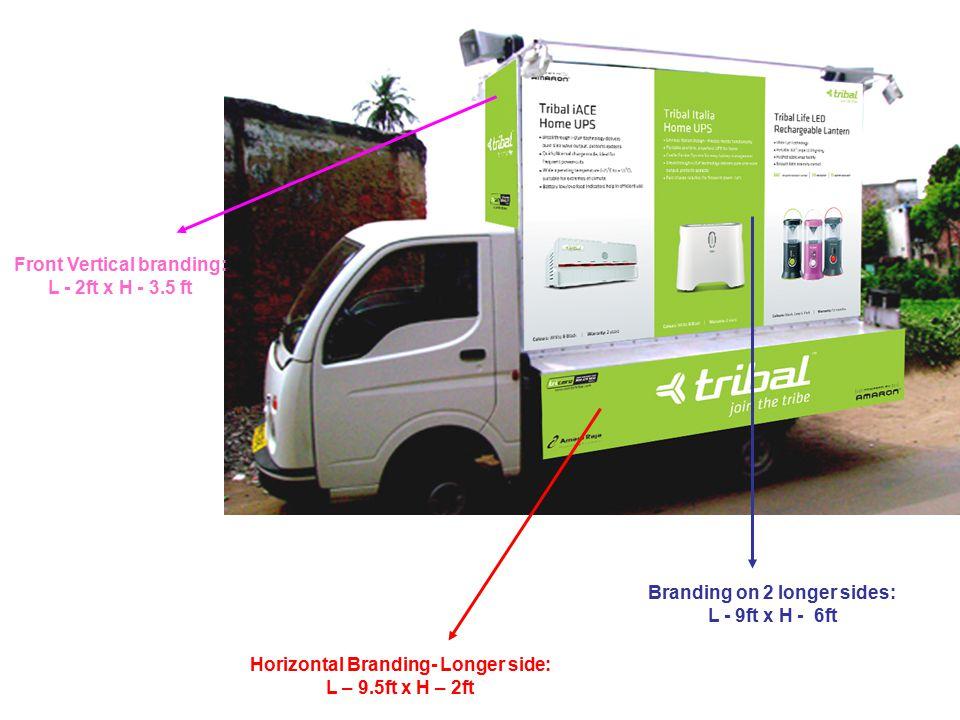 Front Vertical branding: L - 2ft x H - 3.5 ft Branding on 2 longer sides: L - 9ft x H - 6ft Horizontal Branding- Longer side: L – 9.5ft x H – 2ft