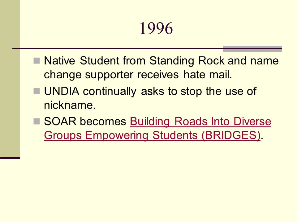 1996 Native Student from Standing Rock and name change supporter receives hate mail.