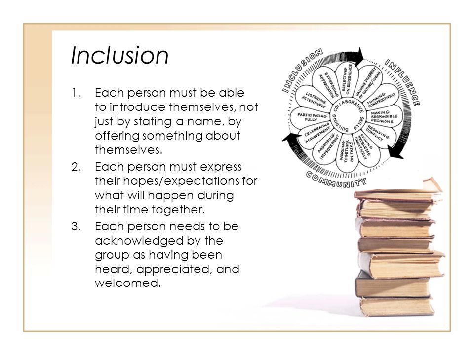 Inclusion 1.Each person must be able to introduce themselves, not just by stating a name, by offering something about themselves.