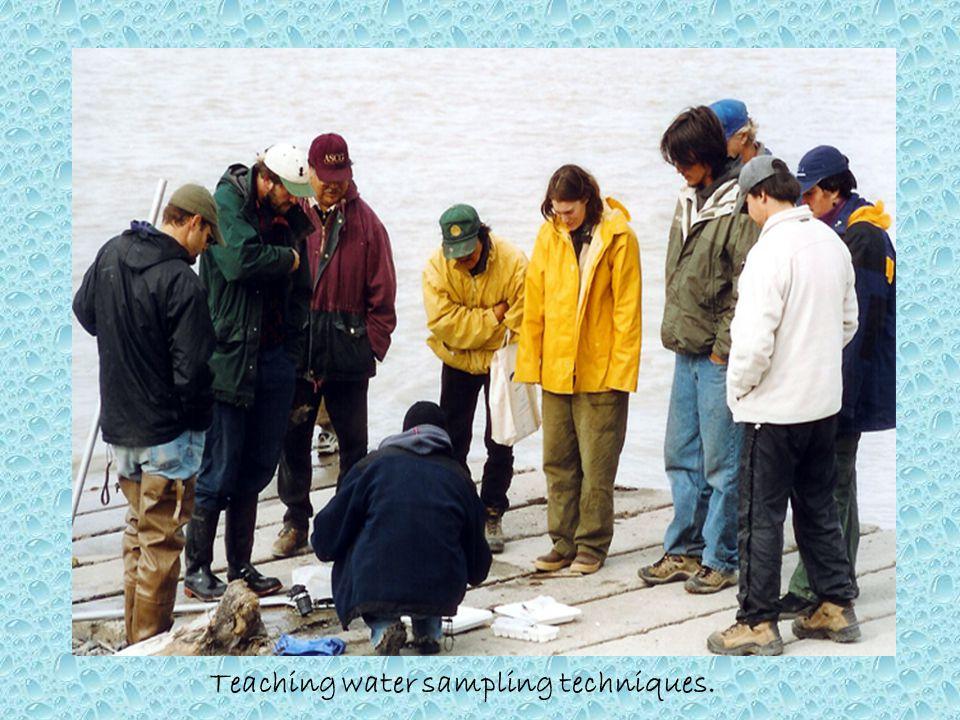 Teaching water sampling techniques.