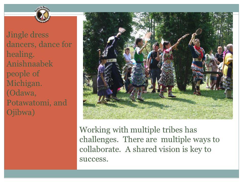 12 Jingle dress dancers, dance for healing. Anishnaabek people of Michigan.