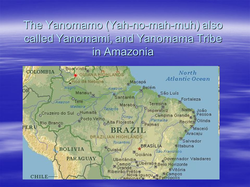 The Yanomamo (Yah-no-mah-muh) also called Yanomami, and Yanomama Tribe in Amazonia