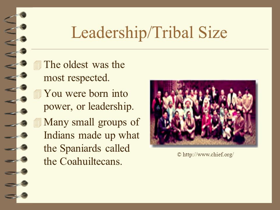 Leadership/Tribal Size 4 The oldest was the most respected. 4 You were born into power, or leadership. 4 Many small groups of Indians made up what the