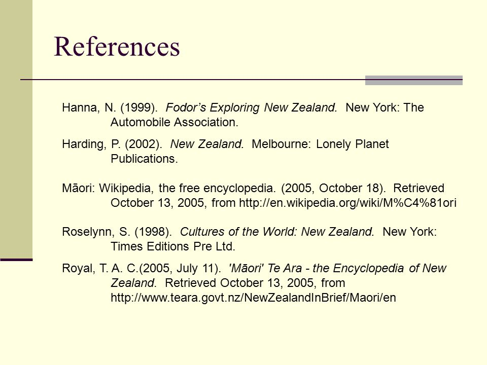 References Hanna, N.(1999). Fodor's Exploring New Zealand.