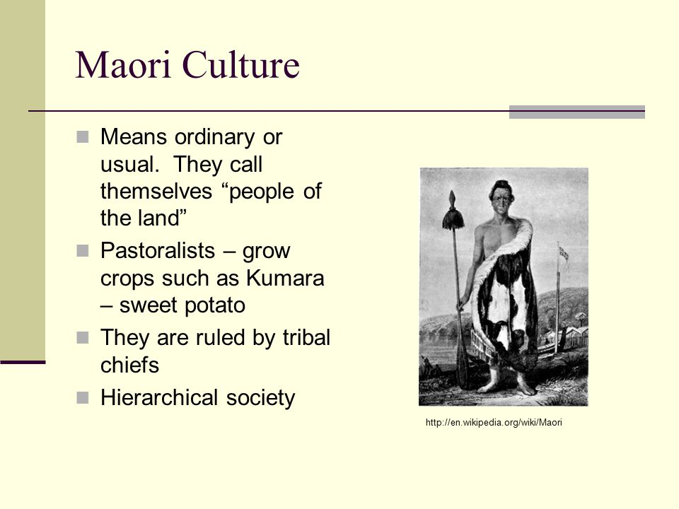 Maori Culture Means ordinary or usual.