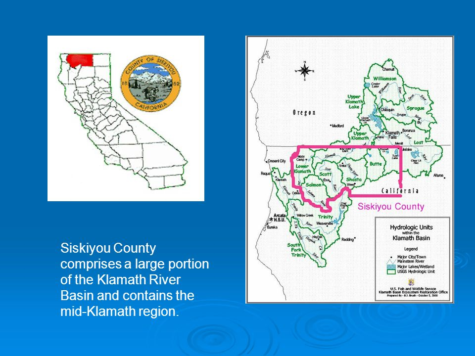 Siskiyou County comprises a large portion of the Klamath River Basin and contains the mid-Klamath region.