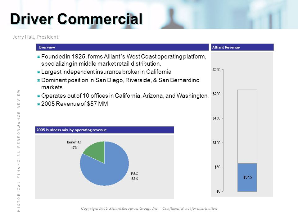 Copyright 2006, Alliant Resources Group, Inc. - Confidential, not for distribution Driver Commercial Overview 2005 business mix by operating revenue A