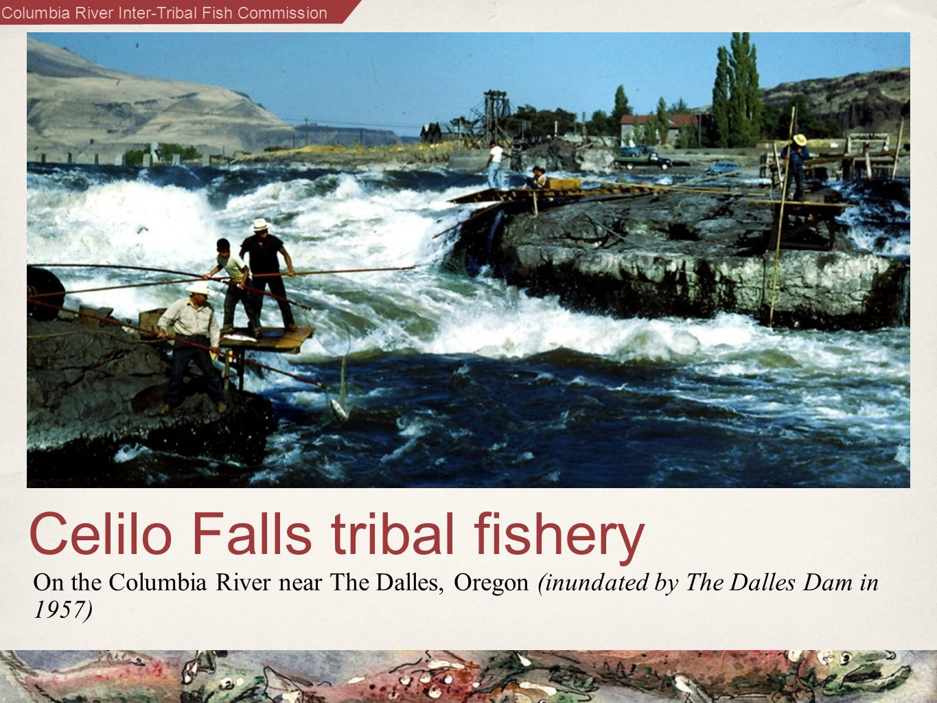 Columbia River Inter-Tribal Fish Commission Celilo Falls tribal fishery On the Columbia River near The Dalles, Oregon (inundated by The Dalles Dam in 1957)
