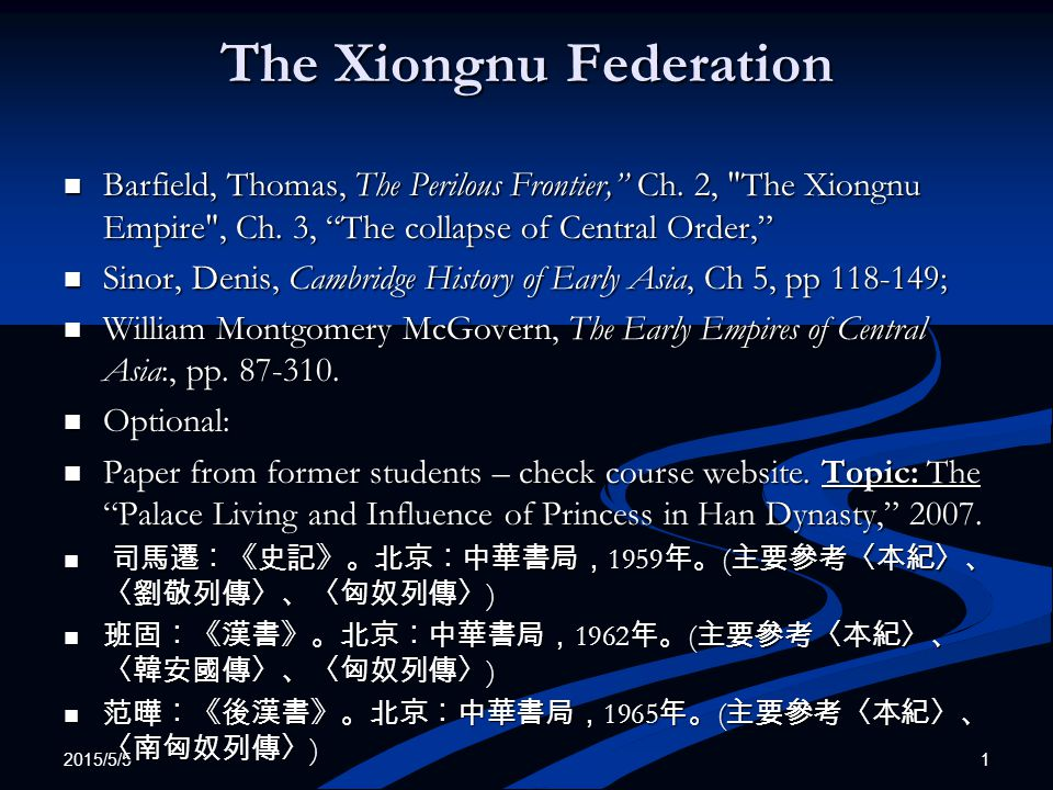 2015/5/5 22 The Xiongnu Frontier Policy (6) 3.A Government dominated by civilian Chinese 3.