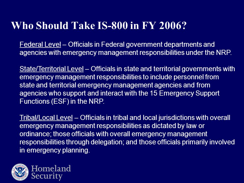 Who Should Take IS-800 in FY 2006.