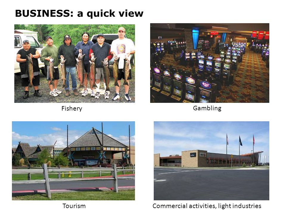 BUSINESS: a quick view Fishery TourismCommercial activities, light industries Gambling