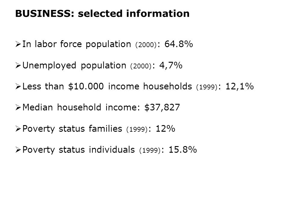 BUSINESS: selected information  In labor force population (2000) : 64.8%  Unemployed population (2000) : 4,7%  Less than $10.000 income households (1999) : 12,1%  Median household income: $37,827  Poverty status families (1999) : 12%  Poverty status individuals (1999) : 15.8%