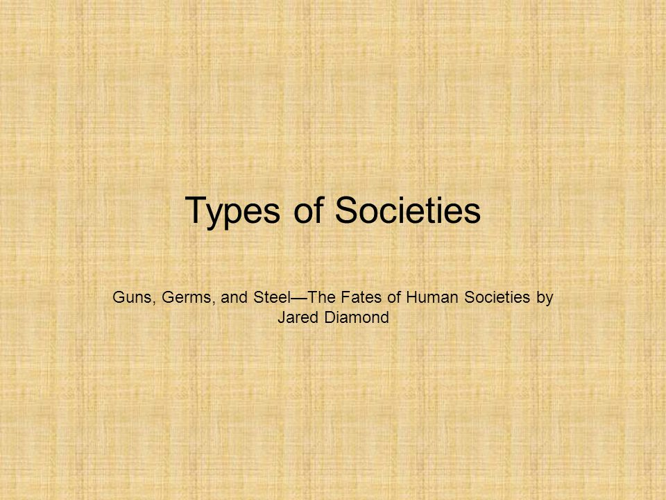 Types of Societies BandTribe ChiefdomState Government Monopoly of Force and Information no yes