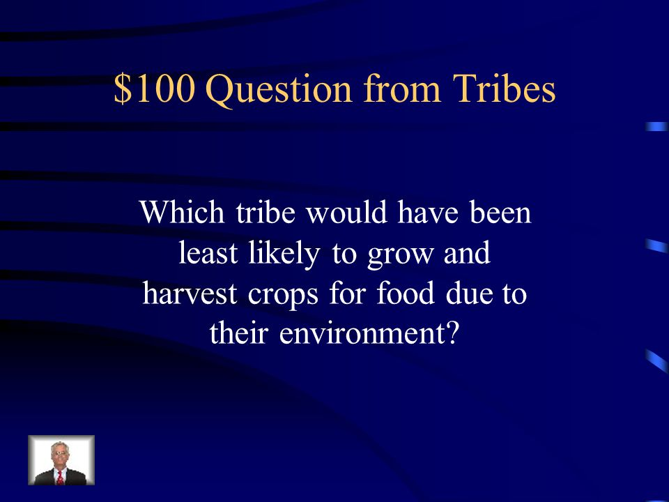 Jeopardy Tribes Climates/ location Customs Terms History Mystery Q $100 Q $200 Q $300 Q $400 Q $500 Q $100 Q $200 Q $300 Q $400 Q $500 Final Jeopardy