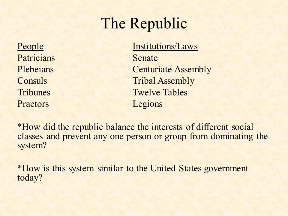 The Republic PeopleInstitutions/Laws PatriciansSenate PlebeiansCenturiate Assembly ConsulsTribal Assembly TribunesTwelve Tables PraetorsLegions *How did the republic balance the interests of different social classes and prevent any one person or group from dominating the system.