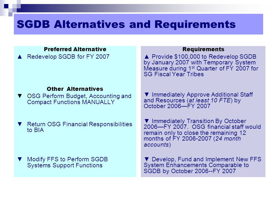 SGDB Alternatives and Requirements Preferred Alternative ▲Redevelop SGDB for FY 2007 Other Alternatives ▼OSG Perform Budget, Accounting and Compact Functions MANUALLY ▼Return OSG Financial Responsibilities to BIA ▼Modify FFS to Perform SGDB Systems Support Functions Requirements ▲Provide $100,000 to Redevelop SGDB by January 2007 with Temporary System Measure during 1 st Quarter of FY 2007 for SG Fiscal Year Tribes ▼Immediately Approve Additional Staff and Resources (at least 10 FTE) by October 2006—FY 2007 ▼Immediately Transition By October 2006—FY 2007.