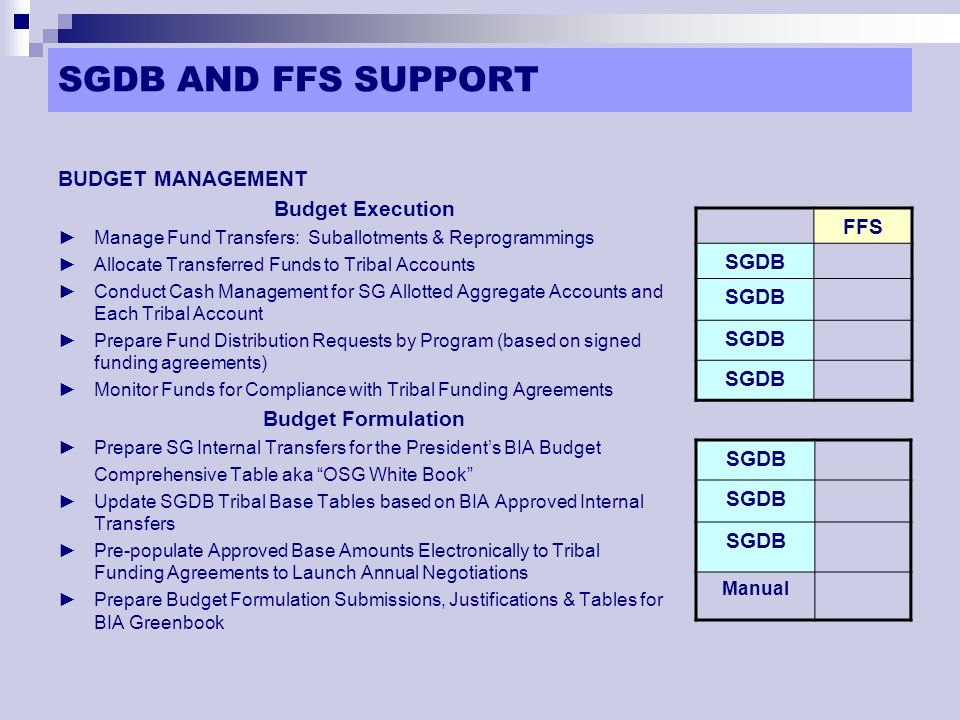 SGDB AND FFS SUPPORT (Cont'd) ACCOUNTING MANAGEMENT ► Perform Daily OSG Aggregate & Tribal Account Reconciliation ►Generate Tribal Account Obligations for FFS Input ►Process Tribal Obligation Awards ►Process Tribal Payments ►Prepare Federal Reports, i.e.