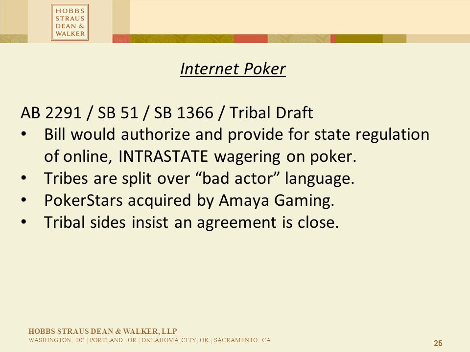 25 HOBBS STRAUS DEAN & WALKER, LLP WASHINGTON, DC | PORTLAND, OR | OKLAHOMA CITY, OK | SACRAMENTO, CA Internet Poker AB 2291 / SB 51 / SB 1366 / Tribal Draft Bill would authorize and provide for state regulation of online, INTRASTATE wagering on poker.