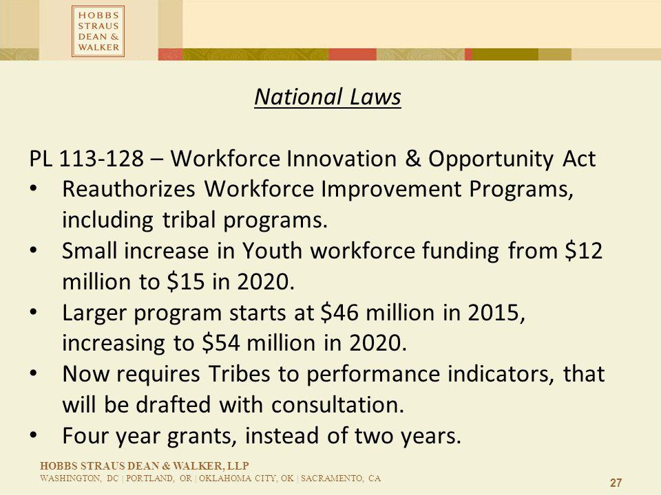 27 HOBBS STRAUS DEAN & WALKER, LLP WASHINGTON, DC | PORTLAND, OR | OKLAHOMA CITY, OK | SACRAMENTO, CA National Laws PL 113-128 – Workforce Innovation & Opportunity Act Reauthorizes Workforce Improvement Programs, including tribal programs.