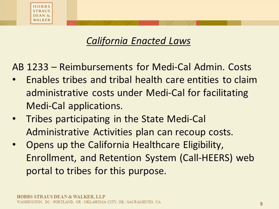 9 HOBBS STRAUS DEAN & WALKER, LLP WASHINGTON, DC | PORTLAND, OR | OKLAHOMA CITY, OK | SACRAMENTO, CA California Enacted Laws AB 1233 – Reimbursements for Medi-Cal Admin.