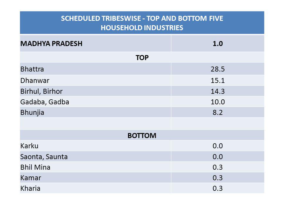 SCHEDULED TRIBESWISE - TOP AND BOTTOM FIVE HOUSEHOLD INDUSTRIES MADHYA PRADESH1.0 TOP Bhattra28.5 Dhanwar15.1 Birhul, Birhor14.3 Gadaba, Gadba10.0 Bhu