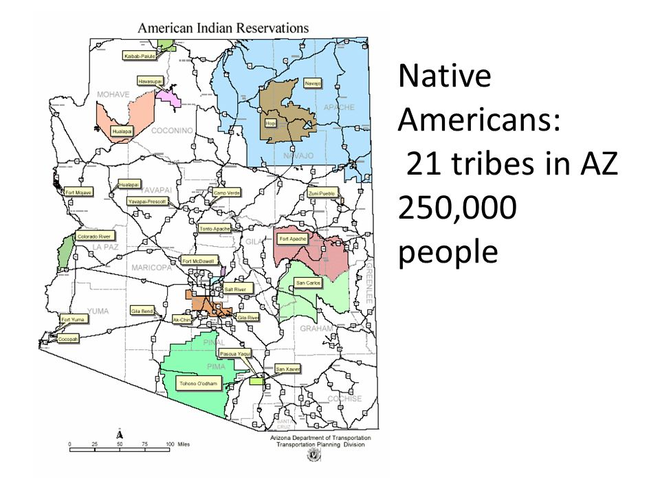 Native Americans: 21 tribes in AZ 250,000 people