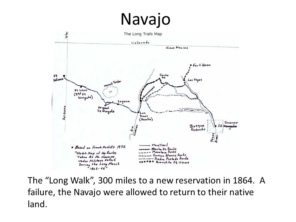Navajo The Long Walk , 300 miles to a new reservation in 1864.