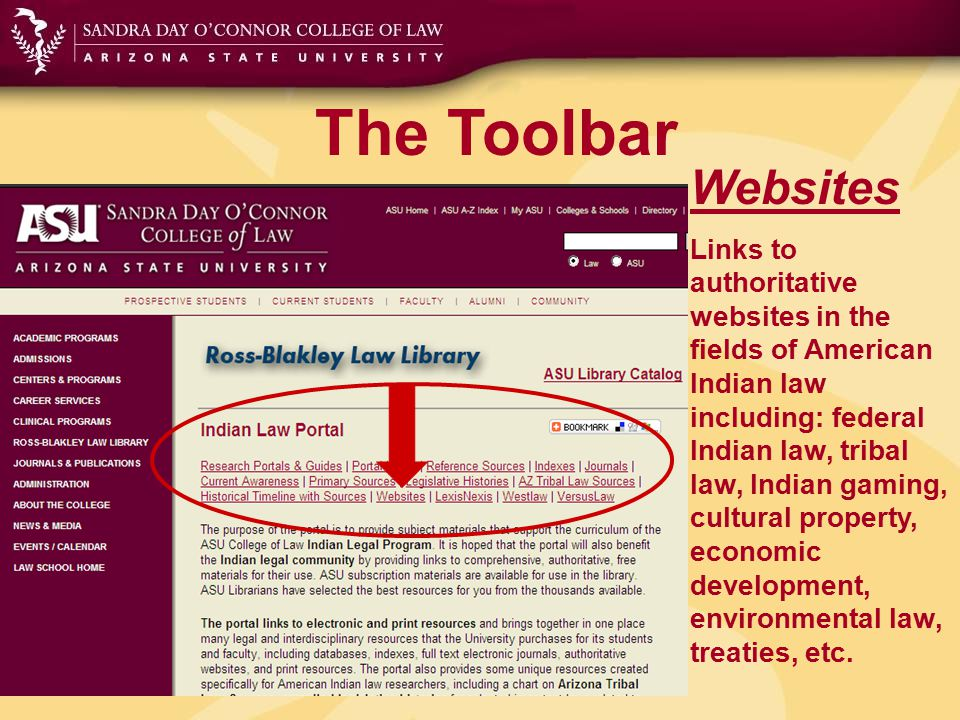 The Toolbar Websites Links to authoritative websites in the fields of American Indian law including: federal Indian law, tribal law, Indian gaming, cu