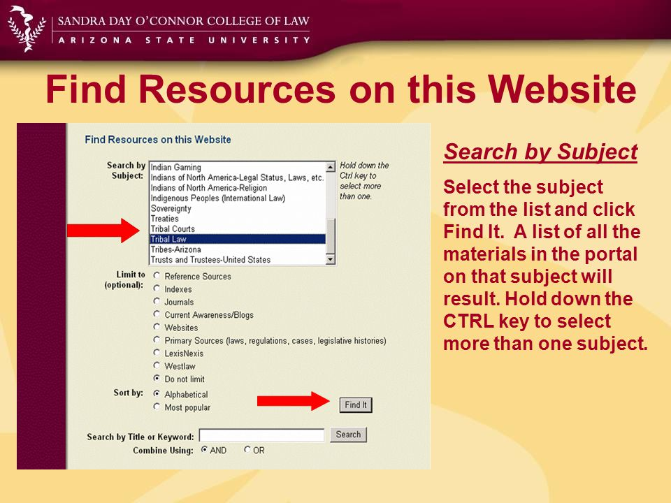 Find Resources on this Website Search by Subject Select the subject from the list and click Find It. A list of all the materials in the portal on that