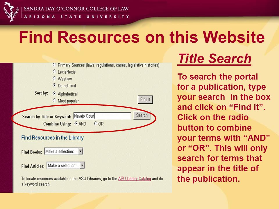 "Find Resources on this Website Title Search To search the portal for a publication, type your search in the box and click on ""Find it"". Click on the r"