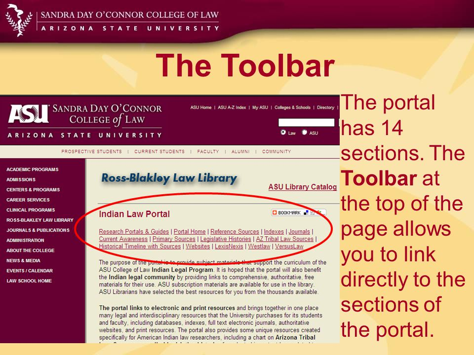 The Toolbar Reference Sources Links and citations to selected reference materials including encyclopedias, research guides, directories, handbooks, bibliographies and dictionaries American Indian Law and Native Americans.
