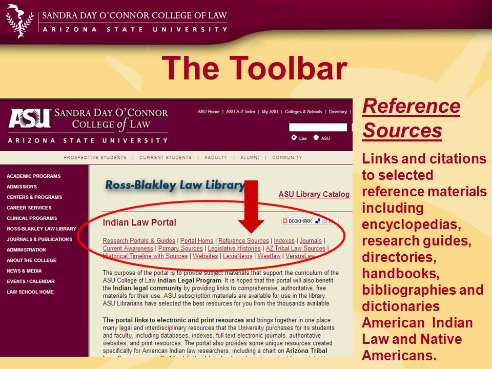The Toolbar Indexes Links to article indexes at the Law Library and ASU pertaining to American Indian law and Native Americans.