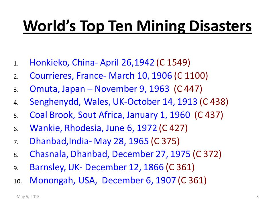 World's Top Ten Mining Disasters 1. Honkieko, China- April 26,1942 (C 1549) 2. Courrieres, France- March 10, 1906 (C 1100) 3. Omuta, Japan – November