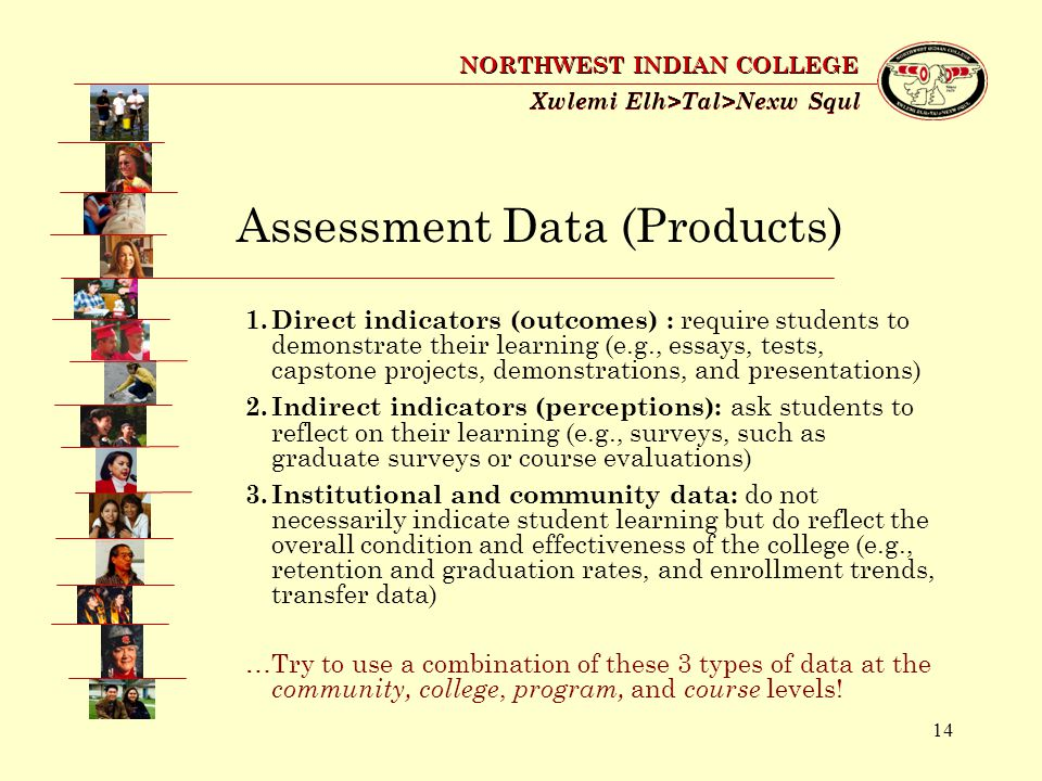 14 Xwlemi Elh>Tal>Nexw Squl NORTHWEST INDIAN COLLEGE Assessment Data (Products) 1.Direct indicators (outcomes) : require students to demonstrate their learning (e.g., essays, tests, capstone projects, demonstrations, and presentations) 2.Indirect indicators (perceptions): ask students to reflect on their learning (e.g., surveys, such as graduate surveys or course evaluations) 3.Institutional and community data: do not necessarily indicate student learning but do reflect the overall condition and effectiveness of the college (e.g., retention and graduation rates, and enrollment trends, transfer data) …Try to use a combination of these 3 types of data at the community, college, program, and course levels!