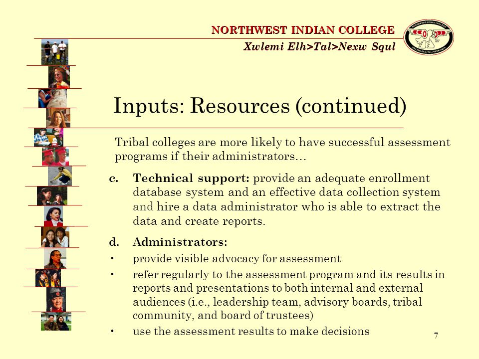 28 Xwlemi Elh>Tal>Nexw Squl NORTHWEST INDIAN COLLEGE Indirect Indicators: NWIC Surveys Needs Assessment (locally designed, 2003) Teaching and Assessment Methods (locally designed, 2003) Student Opinion (ACT and locally designed, 2003) Alumni Survey (ACT & locally designed, 2004) Community College Survey of Student Engagement and the Faculty Survey of Student Engagement (exploring active student involvement in learning) (2005) Institutional Health (locally designed, 2005 and 2006) Graduate Survey (online, ongoing, 2006) Course Evaluations (online, ongoing, 2006)