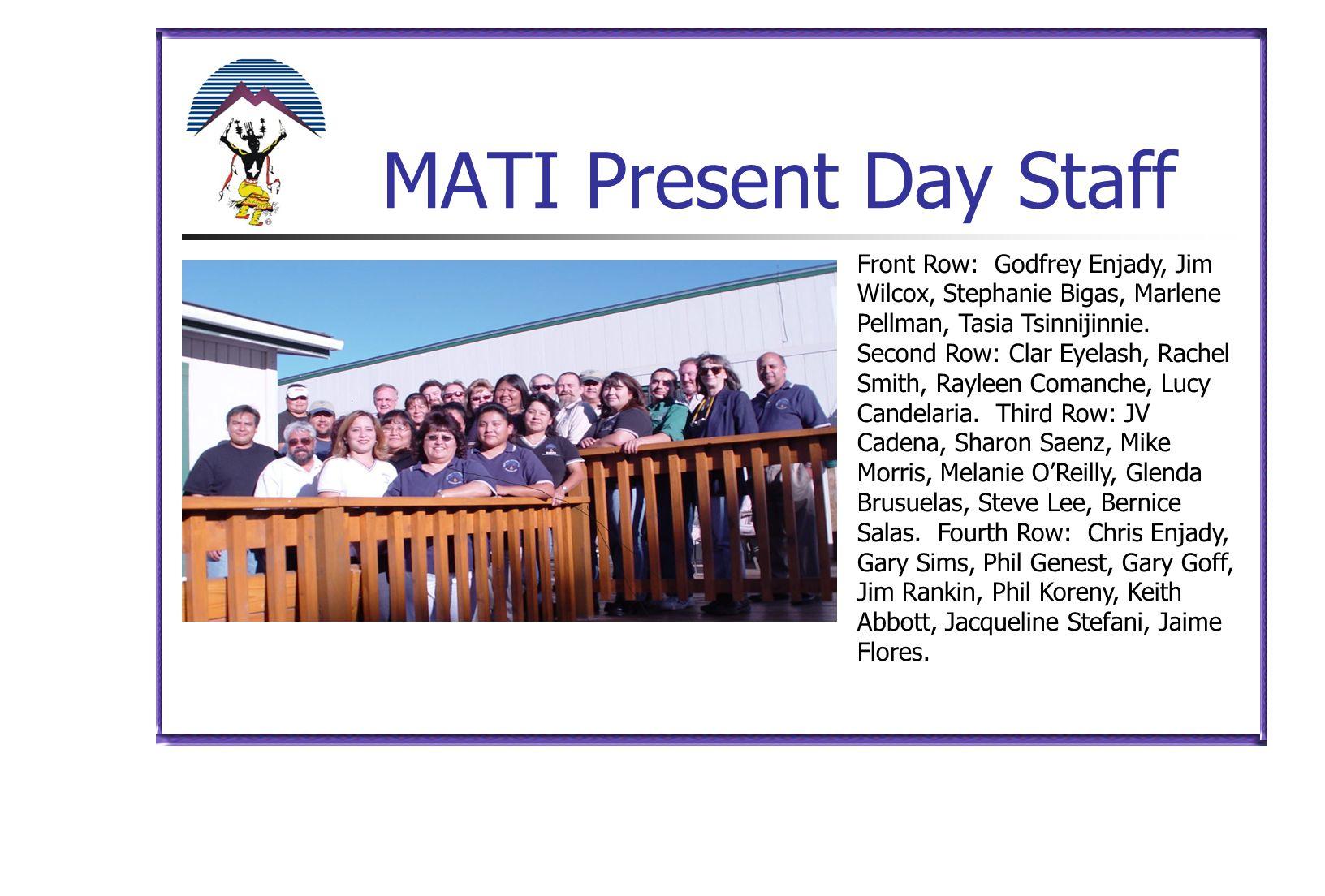 MATI Present Day Staff Front Row: Godfrey Enjady, Jim Wilcox, Stephanie Bigas, Marlene Pellman, Tasia Tsinnijinnie.