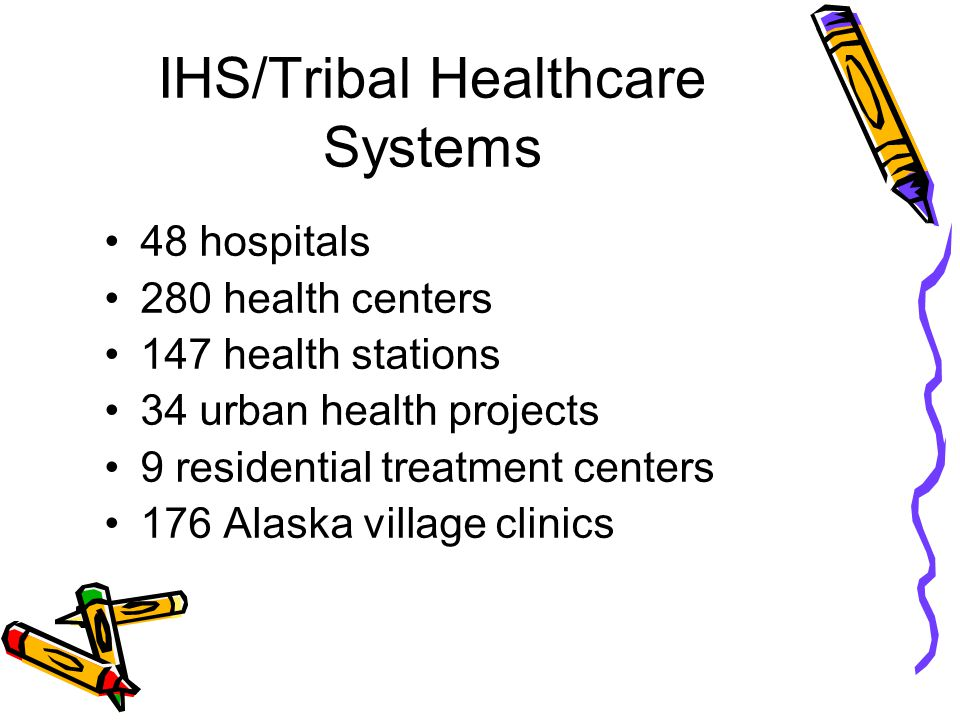 IHS/Tribal Healthcare Systems 48 hospitals 280 health centers 147 health stations 34 urban health projects 9 residential treatment centers 176 Alaska village clinics