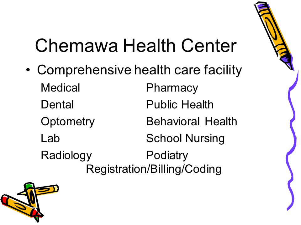 Chemawa Health Center Comprehensive health care facility MedicalPharmacy DentalPublic Health OptometryBehavioral Health LabSchool Nursing RadiologyPodiatry Registration/Billing/Coding