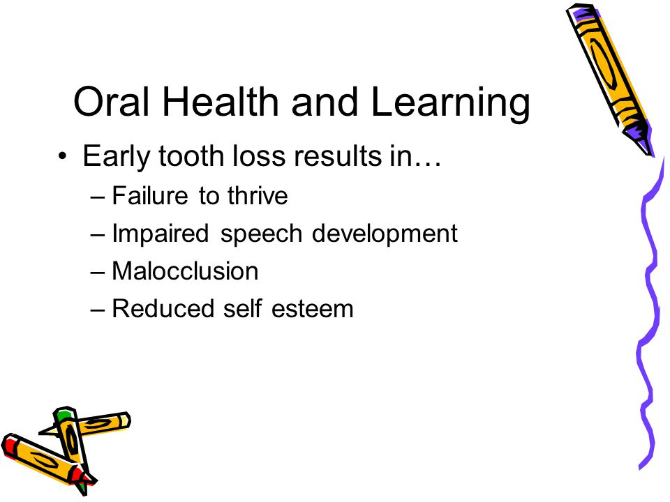 Oral Health and Learning Chronic Dental Pain causes… –Anxiety –Fatigue –Irritability –Depression –Inability to concentrate –Poor nutrition