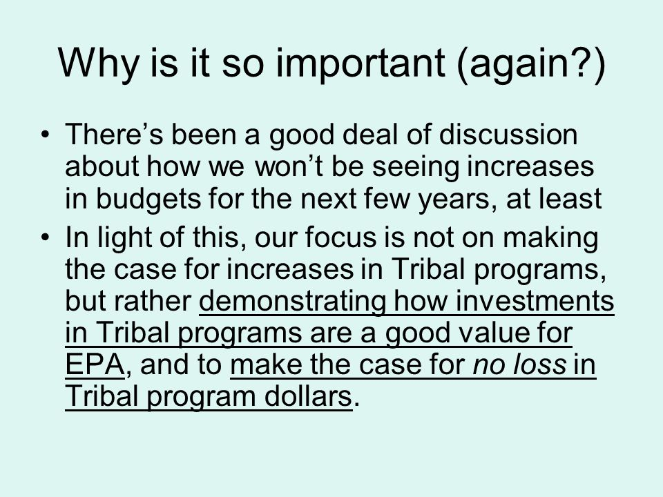 Why is it so important (again?) There's been a good deal of discussion about how we won't be seeing increases in budgets for the next few years, at le