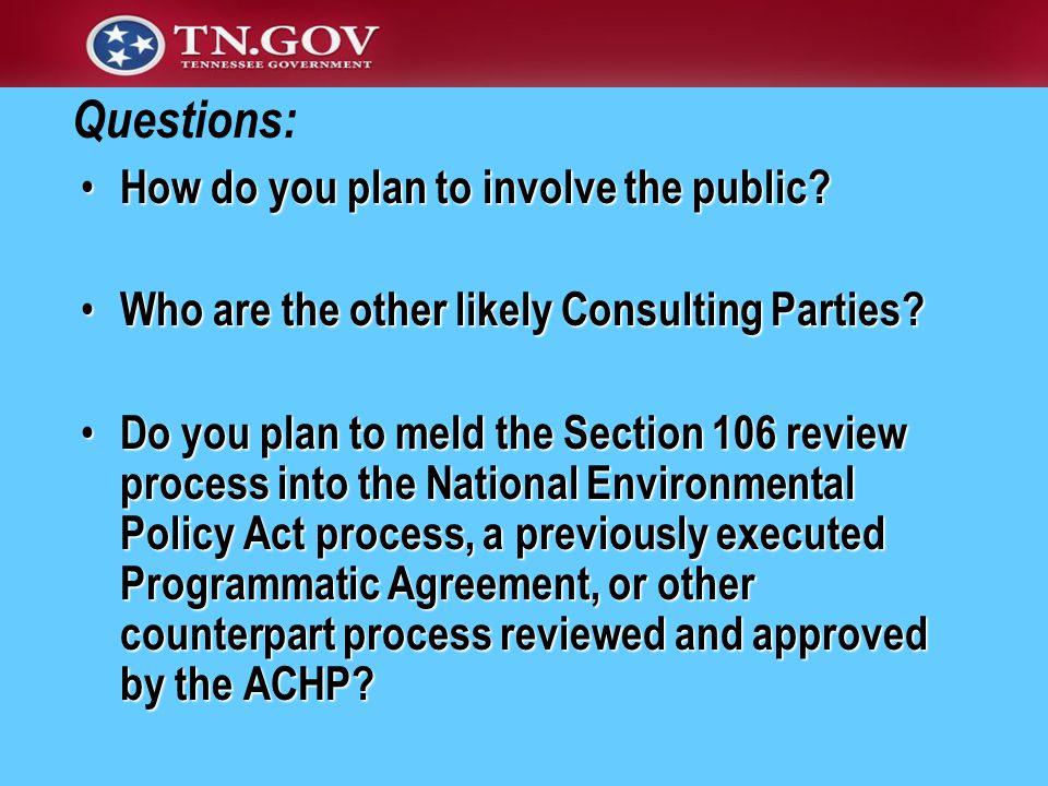 How do you plan to involve the public? How do you plan to involve the public? Who are the other likely Consulting Parties? Who are the other likely Co