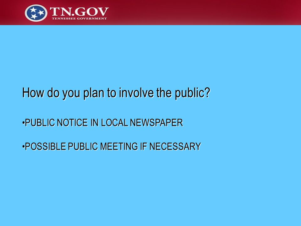 How do you plan to involve the public.