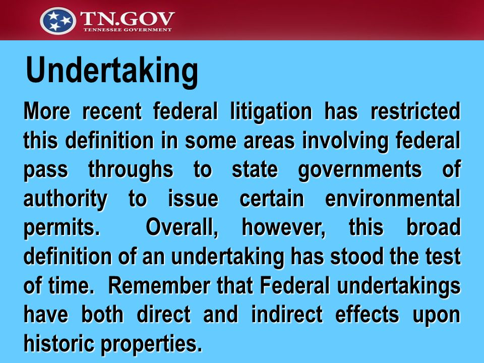More recent federal litigation has restricted this definition in some areas involving federal pass throughs to state governments of authority to issue certain environmental permits.