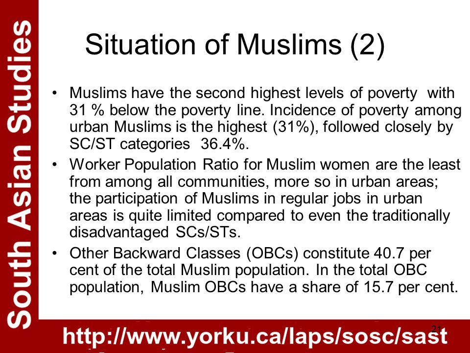 21 Situation of Muslims (2) Muslims have the second highest levels of poverty with 31 % below the poverty line.