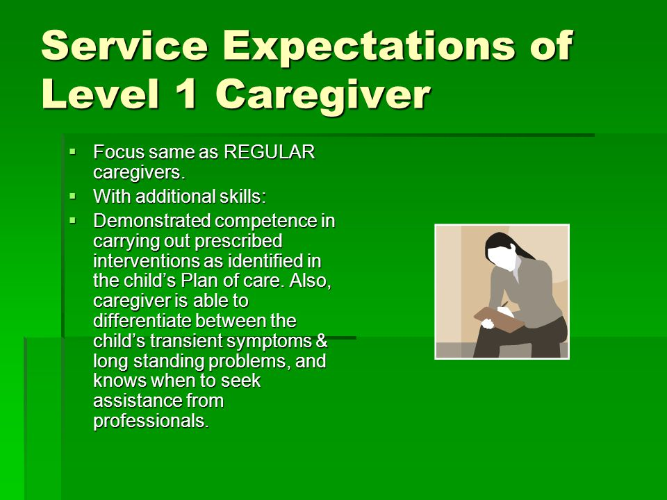 Service Expectations of Level 1 Caregiver  Focus same as REGULAR caregivers.  With additional skills:  Demonstrated competence in carrying out pres