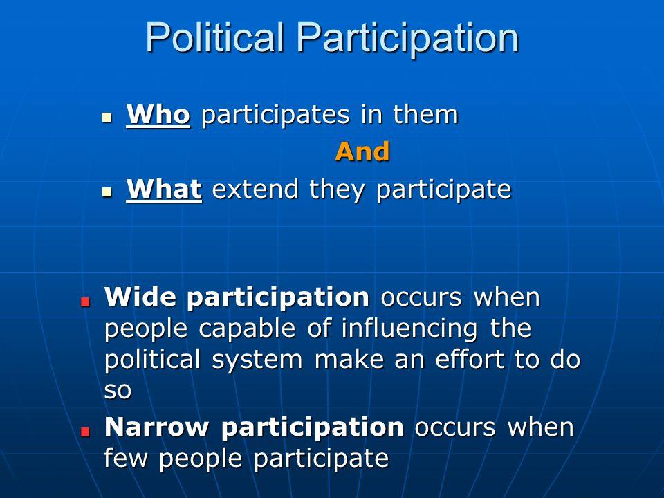 Political Participation Who participates in them Who participates in themAnd What extend they participate What extend they participate Wide participat