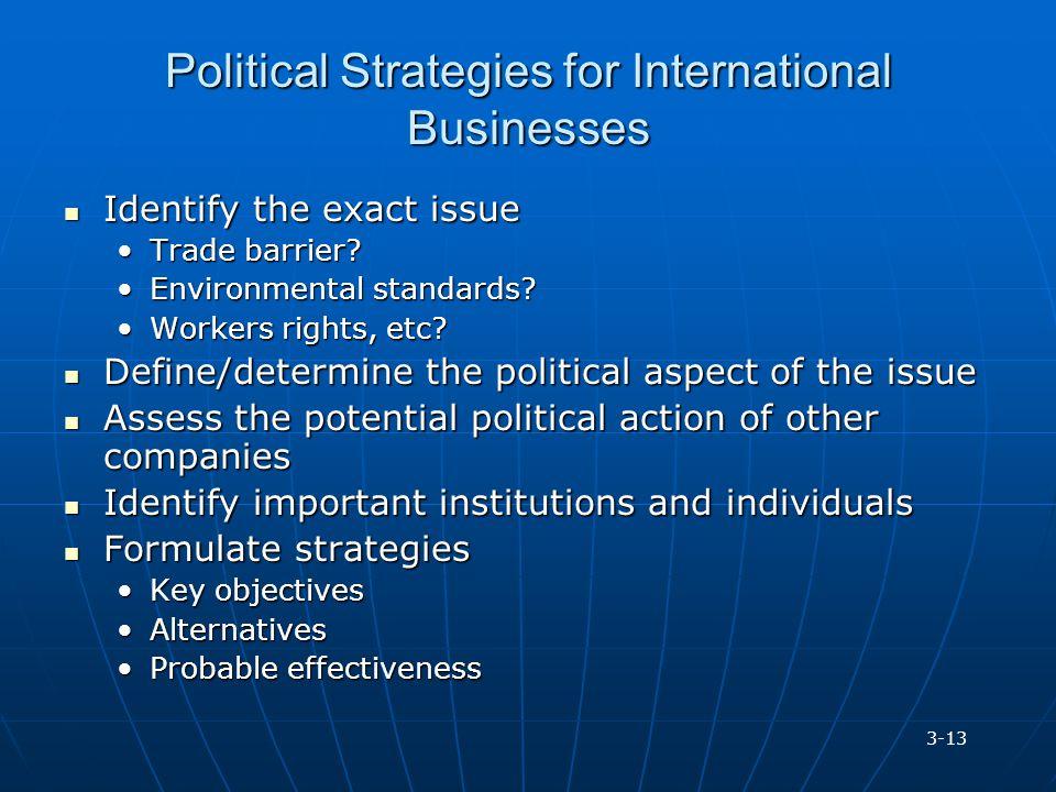 Political Strategies for International Businesses Identify the exact issue Identify the exact issue Trade barrier?Trade barrier? Environmental standar